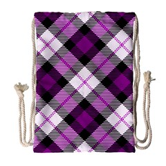 Smart Plaid Purple Drawstring Bag (Large)