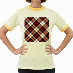 Smart Plaid Red Women s Fitted Ringer T Shirts