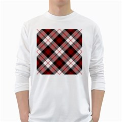 Smart Plaid Red White Long Sleeve T Shirts