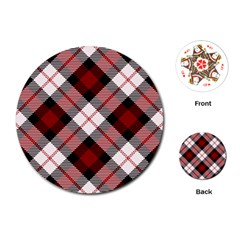 Smart Plaid Red Playing Cards (Round)