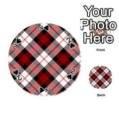 Smart Plaid Red Playing Cards 54 (Round)