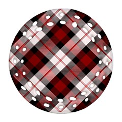 Smart Plaid Red Round Filigree Ornament (2Side)