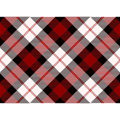 Smart Plaid Red Birthday Cake 3d Greeting Card (7x5)