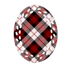 Smart Plaid Red Oval Filigree Ornament (2 Side)