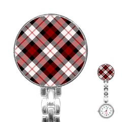 Smart Plaid Red Stainless Steel Nurses Watches