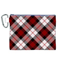 Smart Plaid Red Canvas Cosmetic Bag (XL)