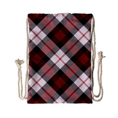 Smart Plaid Red Drawstring Bag (Small)