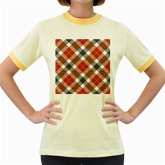Smart Plaid Warm Colors Women s Fitted Ringer T Shirts