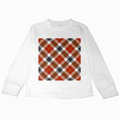Smart Plaid Warm Colors Kids Long Sleeve T Shirts