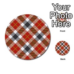 Smart Plaid Warm Colors Multi Purpose Cards (round)