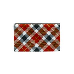 Smart Plaid Warm Colors Cosmetic Bag (small)