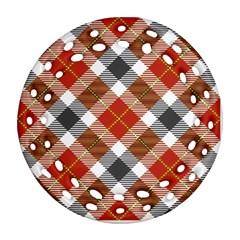 Smart Plaid Warm Colors Round Filigree Ornament (2Side)
