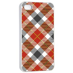 Smart Plaid Warm Colors Apple iPhone 4/4s Seamless Case (White)