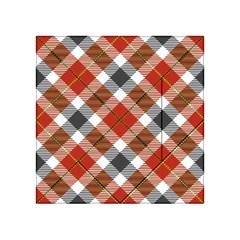 Smart Plaid Warm Colors Acrylic Tangram Puzzle (4  x 4 )