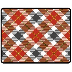 Smart Plaid Warm Colors Double Sided Fleece Blanket (Medium)