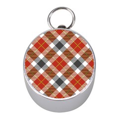 Smart Plaid Warm Colors Mini Silver Compasses