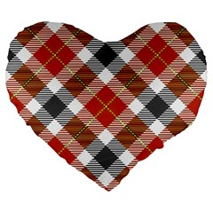 Smart Plaid Warm Colors Large 19  Premium Flano Heart Shape Cushions
