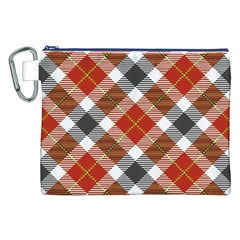 Smart Plaid Warm Colors Canvas Cosmetic Bag (XXL)