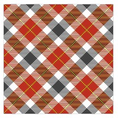 Smart Plaid Warm Colors Large Satin Scarf (Square)