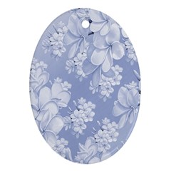 Delicate Floral Pattern,blue  Ornament (oval)