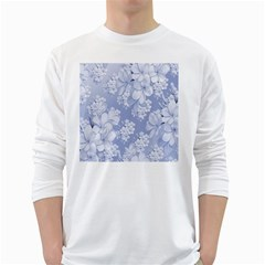 Delicate Floral Pattern,blue  White Long Sleeve T Shirts