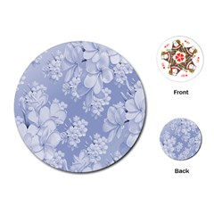 Delicate Floral Pattern,blue  Playing Cards (Round)