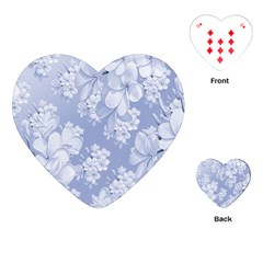 Delicate Floral Pattern,blue  Playing Cards (Heart)