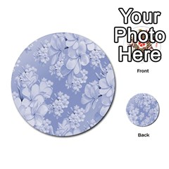 Delicate Floral Pattern,blue  Multi-purpose Cards (Round)