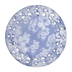 Delicate Floral Pattern,blue  Round Filigree Ornament (2Side)