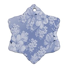 Delicate Floral Pattern,blue  Snowflake Ornament (2-Side)