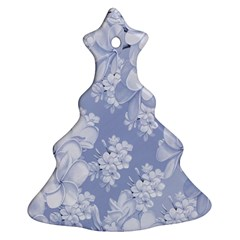 Delicate Floral Pattern,blue  Christmas Tree Ornament (2 Sides)