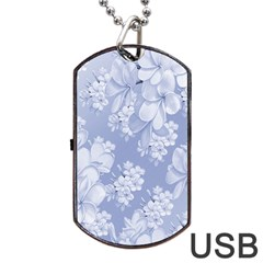 Delicate Floral Pattern,blue  Dog Tag USB Flash (Two Sides)