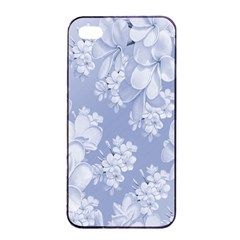 Delicate Floral Pattern,blue  Apple iPhone 4/4s Seamless Case (Black)