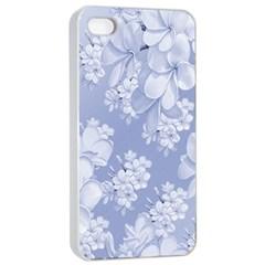 Delicate Floral Pattern,blue  Apple iPhone 4/4s Seamless Case (White)
