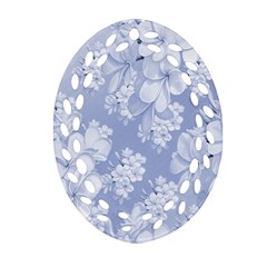 Delicate Floral Pattern,blue  Oval Filigree Ornament (2-Side)
