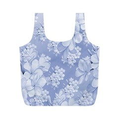 Delicate Floral Pattern,blue  Full Print Recycle Bags (m)