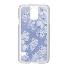 Delicate Floral Pattern,blue  Samsung Galaxy S5 Case (White)