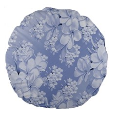 Delicate Floral Pattern,blue  Large 18  Premium Flano Round Cushions