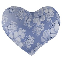 Delicate Floral Pattern,blue  Large 19  Premium Flano Heart Shape Cushions