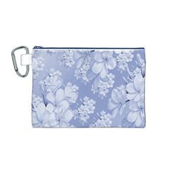 Delicate Floral Pattern,blue  Canvas Cosmetic Bag (M)