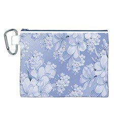 Delicate Floral Pattern,blue  Canvas Cosmetic Bag (L)