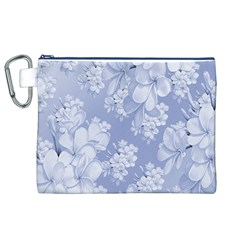 Delicate Floral Pattern,blue  Canvas Cosmetic Bag (XL)