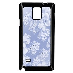 Delicate Floral Pattern,blue  Samsung Galaxy Note 4 Case (black)
