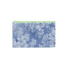 Delicate Floral Pattern,blue  Cosmetic Bag (XS)