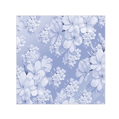 Delicate Floral Pattern,blue  Small Satin Scarf (Square)