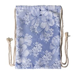 Delicate Floral Pattern,blue  Drawstring Bag (Large)