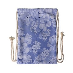Delicate Floral Pattern,blue  Drawstring Bag (Small)