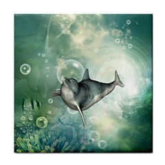 Funny Dswimming Dolphin Tile Coasters