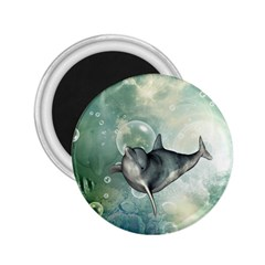 Funny Dswimming Dolphin 2 25  Magnets