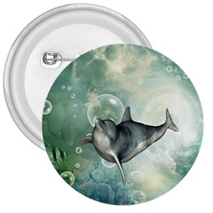 Funny Dswimming Dolphin 3  Buttons